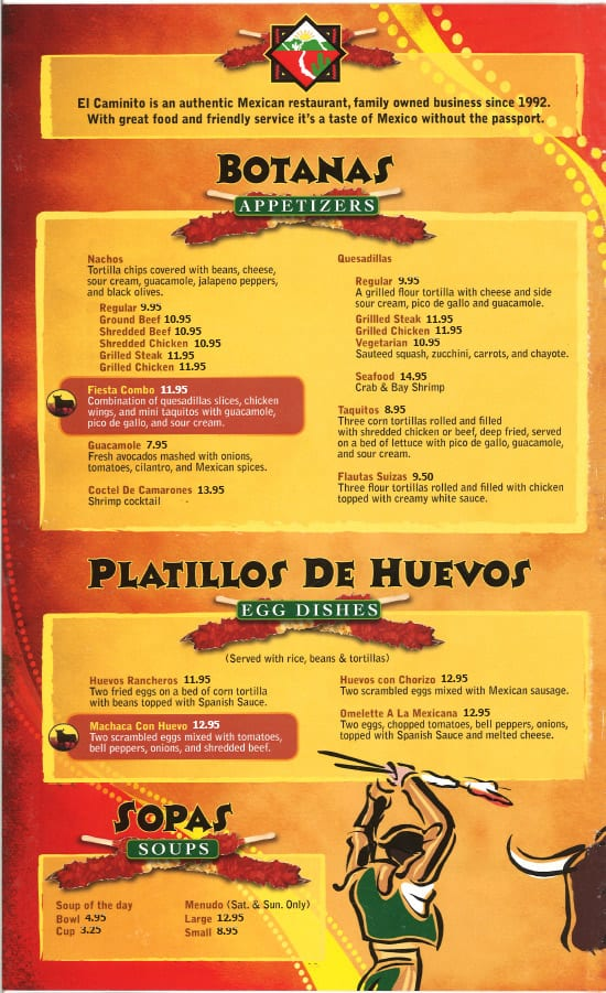 mexican food menu from el caminito in sunnyvale ca