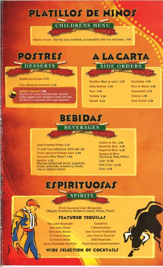 Menu el caminito mexican restaurant for Platillos para ninos