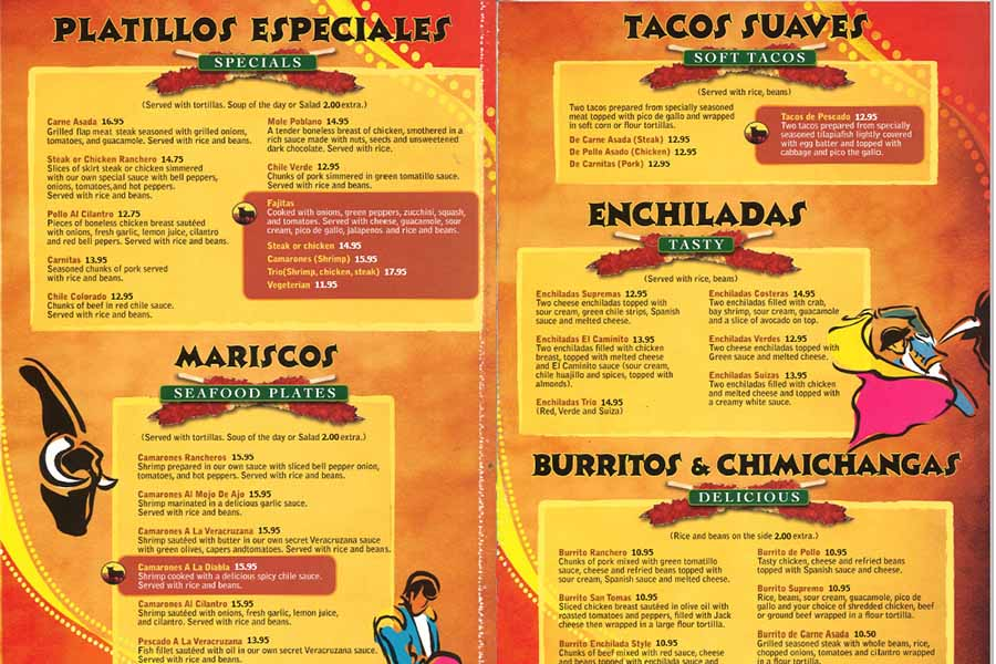 Mexican Food Menu from El Caminito in Sunnyvale CA